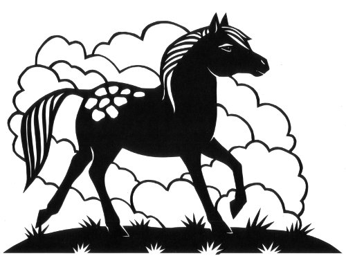 cut paper design Appaloosa Pony