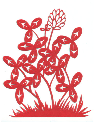 cut paper design Red Clover