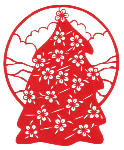 cut paper design florall Christmas Tree