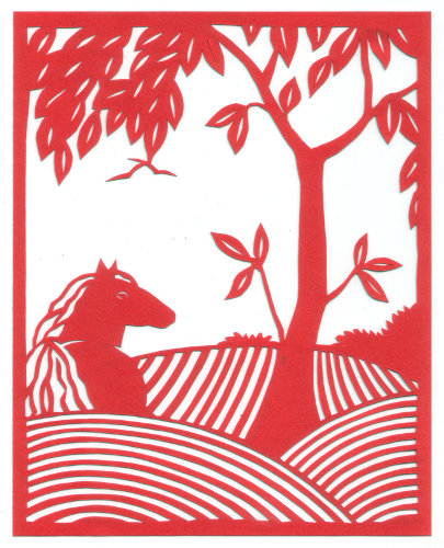 cut paper design Horse and Tree