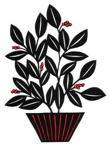 cut paper design Plant with Red Berries