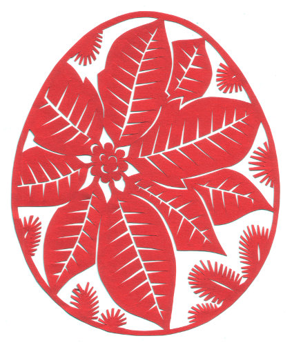 cut paper design Christmas Egg (Poinsettia)