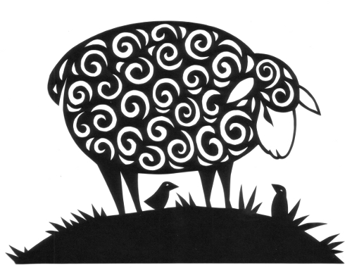 cut paper design Curly Sheep
