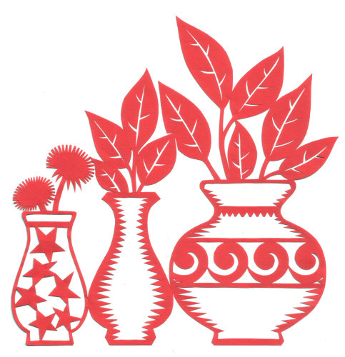 cut paper design Three Vases