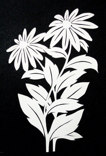 cut paper ornate design Daisies