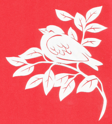 cut paper ornate design Resting Bird