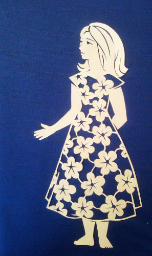 cut paper ornate design Woman in a Flower Dress