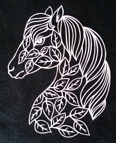 cut paper ornate design Horse with Leaves