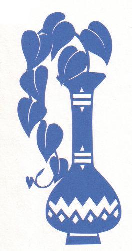 cut paper design Heart Vine in Vase
