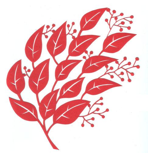 cut paper design Leaves and Berries