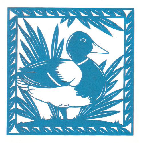 cut paper design Mallard Duck