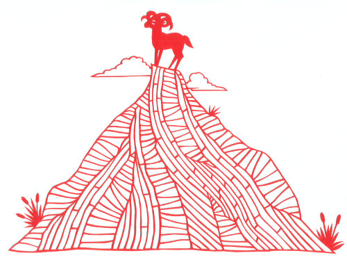 cut paper design Mountain Ram