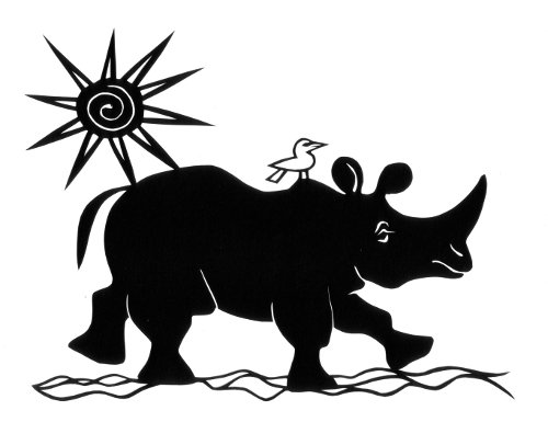 cut paper design Travelling Rhino