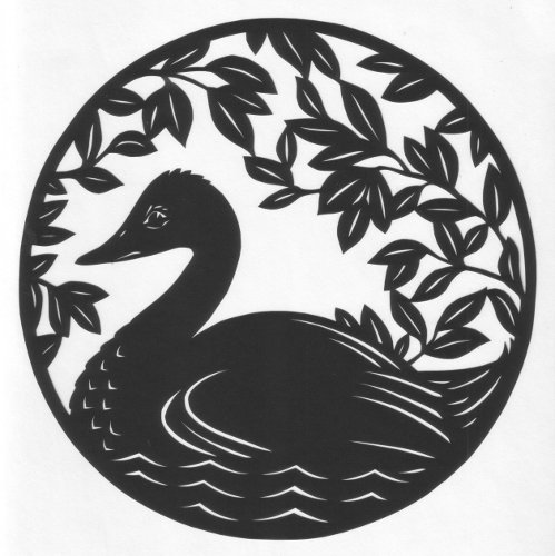 cut paper design Swan on Water
