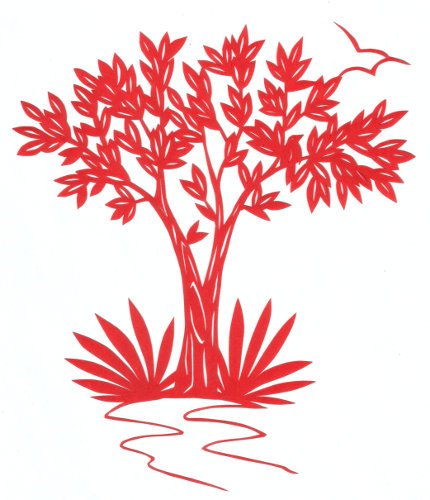cut paper design Tree with Bird