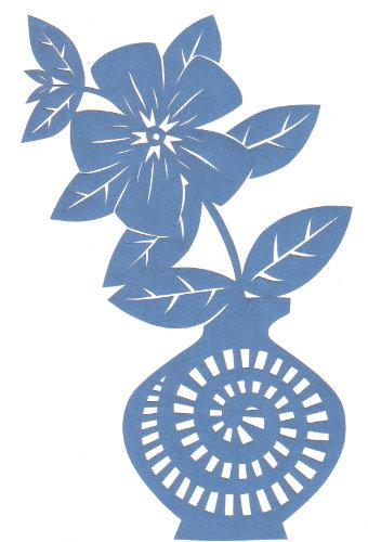 cut paper design Vinca Vase