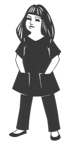 cut paper design Girl in Smock