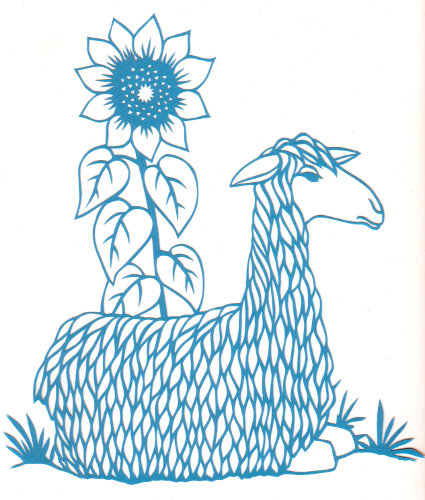 cut paper design Llama and Sunflower