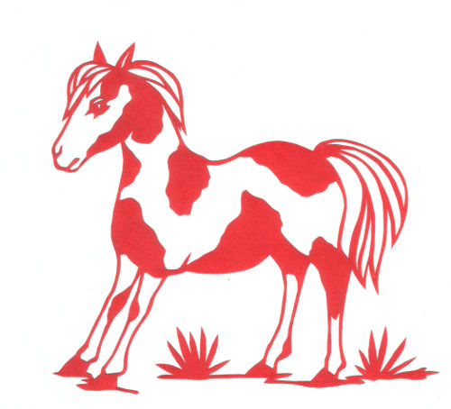 cut paper design Pinto Pony