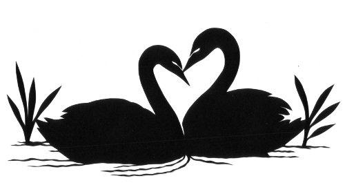 cut paper design Two Swans