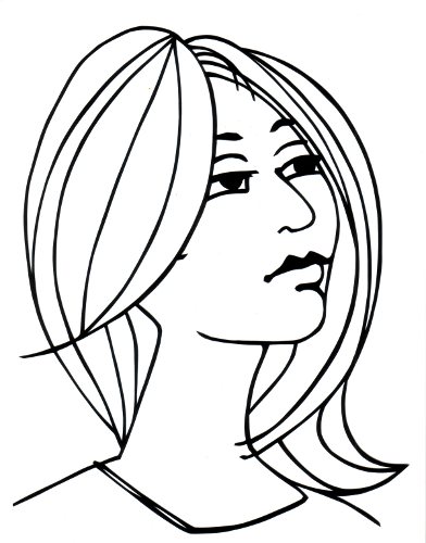 cut paper design Thoughtful Woman