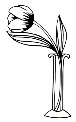 cut paper design Tulip in Vase