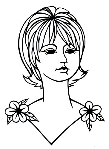 cut paper design Girl with Short Hair