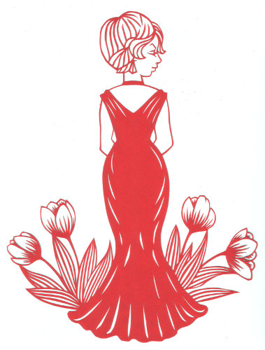 cut paper design Lady with Tulips