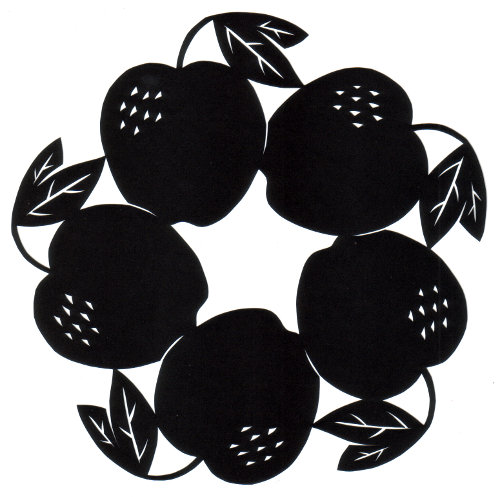 cut paper design Circle of Apples