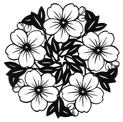 cut paper design Big Blossoms Circle