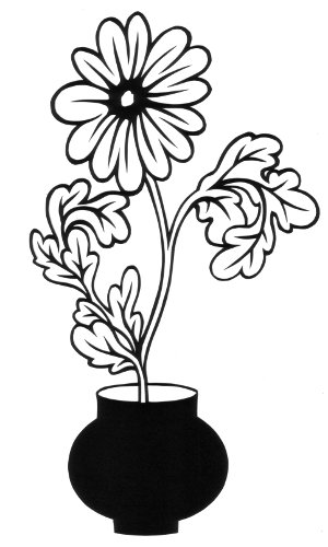 cut paper design Daisy in a Vase