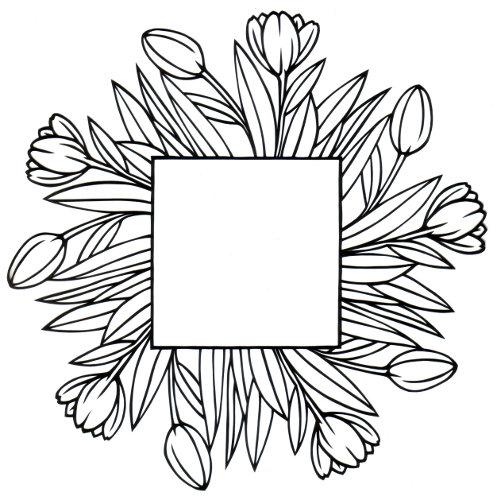 cut paper design Tulip Frame
