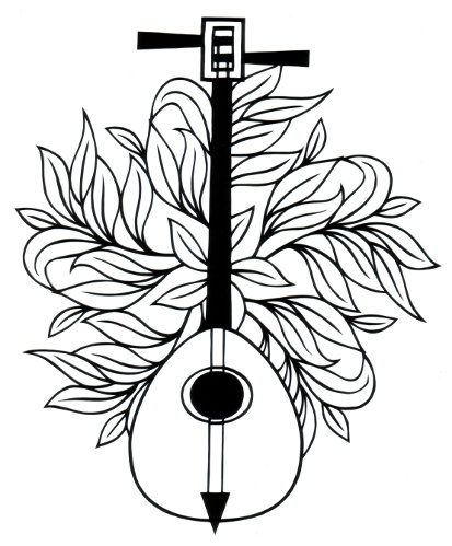 cut paper design Two String Lute