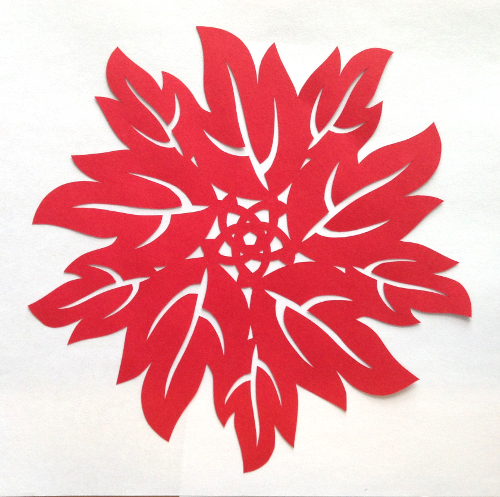 cut paper design Red Leaf Circle
