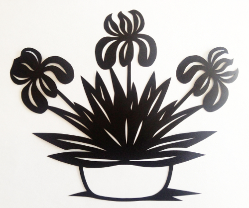 cut paper design Iris Pot