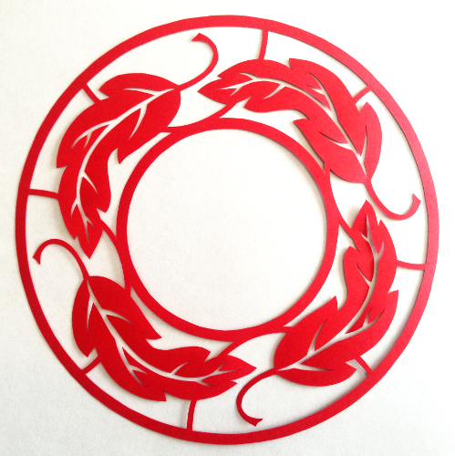 cut paper design Leaf Circle Border