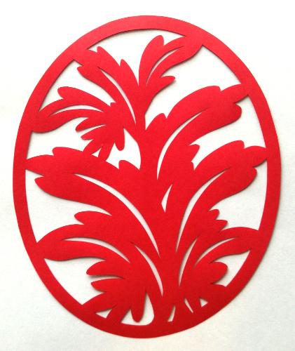 cut paper design Leafy Oval Pendant