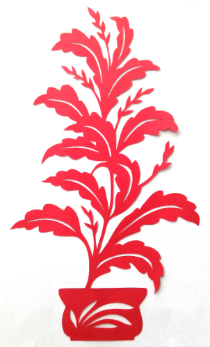 cut paper design Tall Plant in Pot