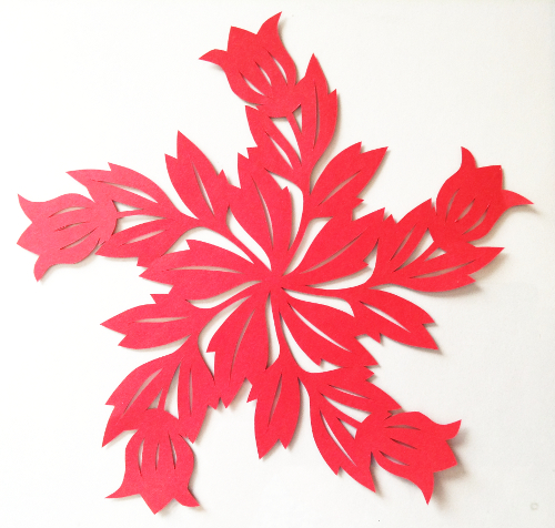 cut paper design Red Flower Circle