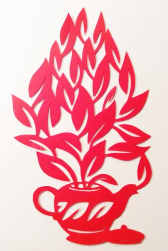 cut paper design Teapot Floral