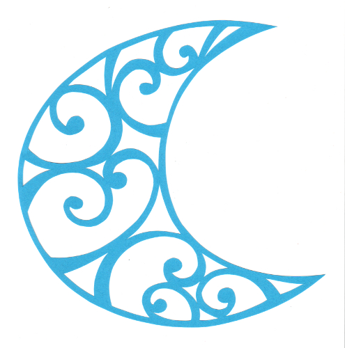 cut paper design Curly Crescent