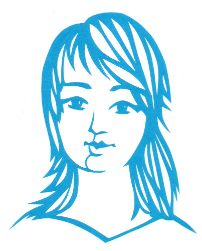 cut paper design Girl with Wispy Hair
