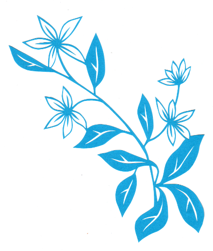 cut paper design White Flower Stem