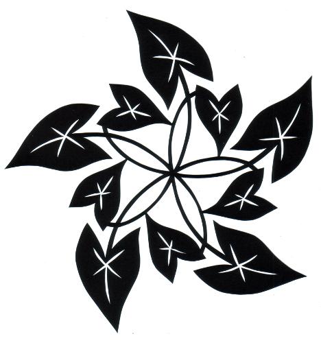 cut paper design Arrow Leaf Pentaskelion