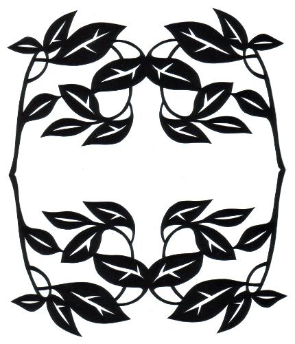 cut paper design Leaf and Twig Frame
