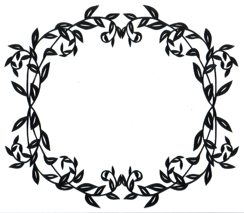 cut paper design Oval Leaf Frame
