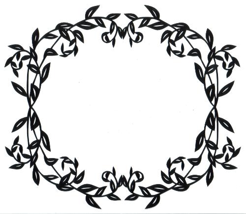 cut paper design Oval Leaf Frame