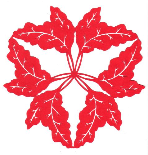 cut paper design Rhubarb Triangle