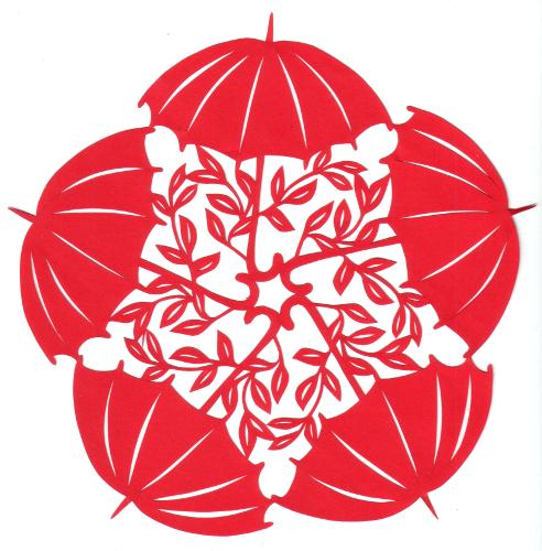 cut paper design Umbrella Circle
