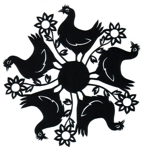 cut paper design  Hentaskelion (Free Range Chickens)